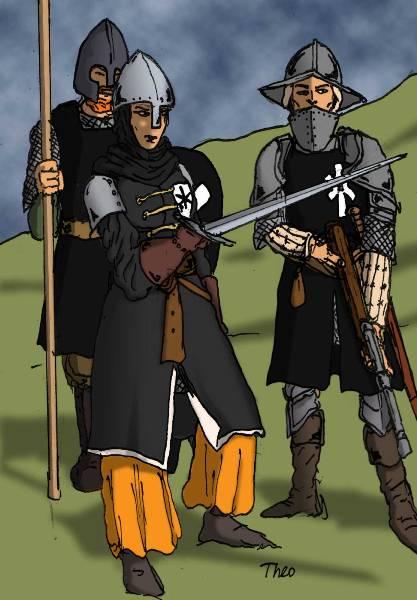 Saruca Etci, en ormandiskfödd löjtnant i II Legionen, flankerad av två legionärer.    Teckning: Theo Axner, 2009