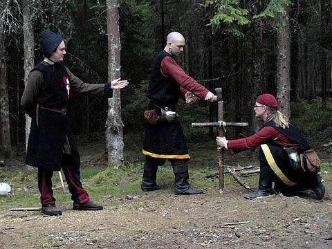 Signifer Galatov, korpral Antonius och underkorpral Keitler; tre Furstliga befäl.  Foto: Karin Edman