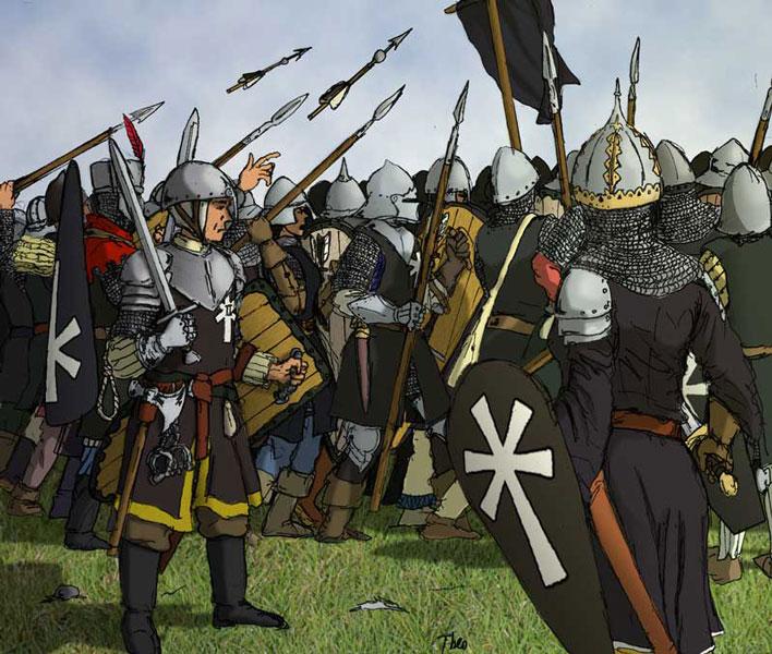 Överkorpral Antonius, Furstlig profoss vid ett kompani i Legio II Serpens.  Profossen svarar för rättskipning och övervakning av disciplin och lydnad vid kompaniet. I strid, som på bilden, tar han plats bakom kompaniet jämte skarprättaren (till vänster) och löjtnanten (löjtnant Etci, till höger) med uppgift att mota tillbaka, gripa eller vid behov hugga ned den som olovandes lämnar ledet.  Teckning: Theo Axner, 2012