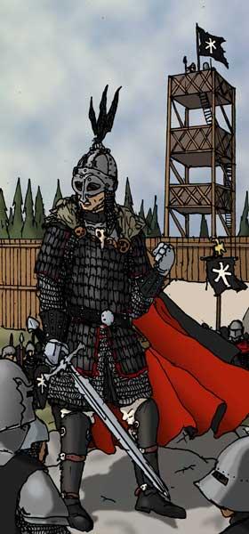 General Voorlaugr, chef för I Legionen och Furstens överbefälhavare i Thule.  Teckning: Theo Axner, 2010