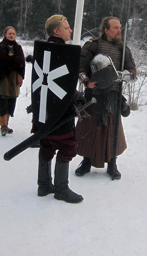 Två Furstliga officerare. Fr v: överstelöjtnant Gerard de Foix, Svartstenslegionen; ryttmästare Subotai, chef för ett kompani ungoliskt kavalleri. (Foto: Theo Axner, 2017)