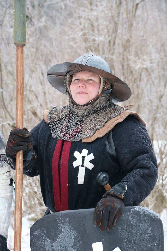 Korpral Ritva Korpvinge, befäl för den lilla grupp legionärer som var förlagda på Hammargården. (Foto: Torbjörn Walberg, 2017)
