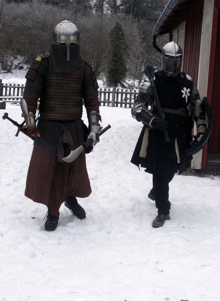 Ryttmästare Subotai, chef för ett kompani ungoliskt kavalleri, och legionär Menke, Svartstenslegionen. (Foto: Theo Axner, 2017)